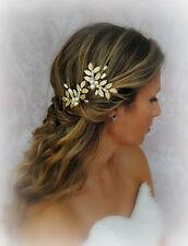 Deja El Cabello alfileres de oro, pernos de pelo de boda con perlas, cristales, Helecho Hoja, griego