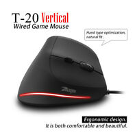 ZelotesT-20 Vertical Wired Game Programmable 6 Buttons LED Mouse Mice 3200 DPI