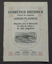 Katalog Gebrüder Brehmer Maschinenfabrik Leipzig - Plagwitz, Kartons, um 1908