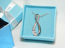 NIB 2008 AVON Silvertone Dream CZ Believe in Love Necklace in Blue Gift Box AV5