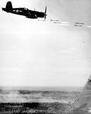 New 8x10 World War II Photo: U.S. Corsair Aircraft Firing in Action, Okinawa