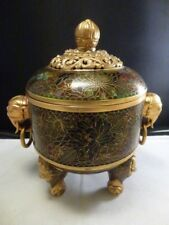 19TH CENTURY CHINESE CLOISONNE TRIPOD CENSER WITH COVER