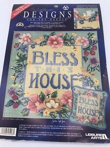 Leisure Arts 1998 Bless This House Needlepoint Canvas #5828 DMC Floss Floral