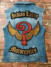 Lot de 3 Veste Gilet Motard Sew-on patch INDIAN LARRY MOTORCYCLES antiqe Or Rouge