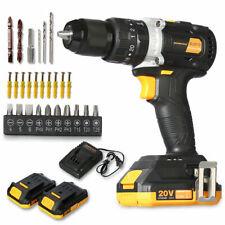 Motor Cordless Hammer Drill/Driver with Bits Set & 2 Batteries20V Brushless