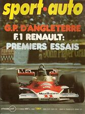 SPORT AUTO 175 1976 GP FRANCE GP ANGLETERRE RALLYE MAROC VW GOLF GTI ALPINE A500