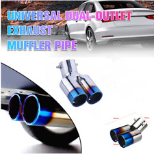 Bent Roasted Blue Car Tail Throat Pipe Truck Exhaust Pipe Trim Dual Tips Muffler