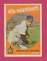 1959 Topps Baseball Card # 44 Vito Valentinetti  --  Senators  (VG-EX)