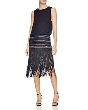 CYNTHIA VINCENT Black Blue Red Embroidered Exposed Back Fringe Flapper Dress 4