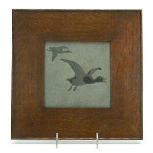 Marblehead Pottery flying goose decorated Arts & Crafts matte gray trivet tile
