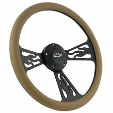 "Black Flamed and Tan 14"" Steering Wheel For 1995 - 2001 Chevy S-10"