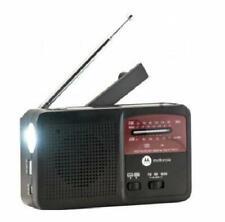 Motorola AM FM NOAA Weather Radio Flashlight Phone Charger Hand Crank and Solar