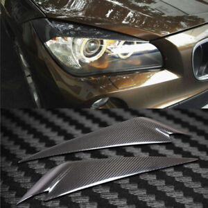 Carbon Fiber Car Headlight Cover Eyebrows Eyelid Trim Decals Fit For BMW X1 2012