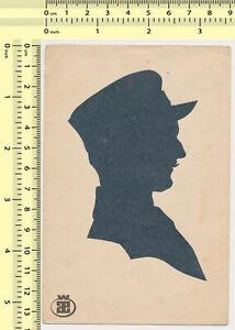 125 Silhouette Man Uniform Guy Male Profile Portrait vintage cut-out art card