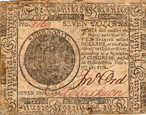 Fr. CC-29 February 17 1776 Philadelphia Continental Currency $7 Note