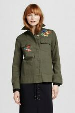 Who What Wear Womens Army Green Olive Jacket Embroidered Floral Button Front Med