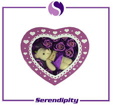 Valentine's Day Gift - Gift Box with Artificial Flower and Toy Bear - Purple