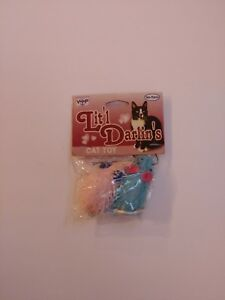Vo-Toys Little Darlin's Valentine's Rags 2 Riches Pink  Blue Mice 2 Pack Cat Toy