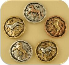 2 Hole Beads Horse Circles 3T Metal ~ Equestrienne Western Buttons Sliders QTY 5