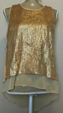 Womens NWT Esley sleeveless layered Sequence blouse top Gold Medium M