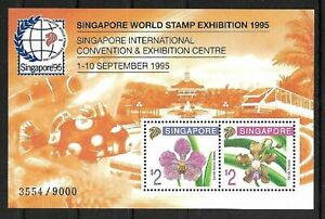 SMT, SINGAPORE SC #717c 1995 ORCHIDS MNH SHEET 3554/9000