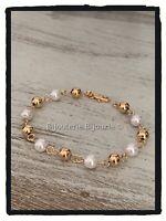 Bracelet Boules et Perles En Plaqué Or 18 carats 750/1000 Bijoux Femme