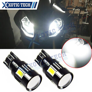 White T10 W5W 2825 LED Bulb Projector Lens Parking Light For BMW S1000RR R1200GS