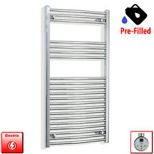 Electric Towel Rail PRE-FILLED Chrome Thermostatic Bathroom 600mm wide Timer x