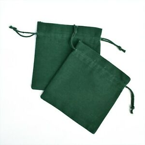 """100 PCS Cotton Drawstring Green Jewelry Packaging Pouch Small Gift Coin Bag 5x5"""""""
