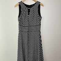 White House Black Market Striped Chevron Cut-Out Dress Sleeveless Sz 10