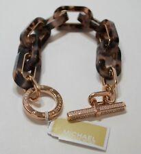 Michael Kors Jeweled Blush Tortoise Link Toggle Pave Bracelet MKJ4737791 NWT