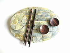 Set of 2 Silver Shell Oval Placemats, Chopsticks, Coasters