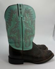 JUSTIN Turquoise Aqua Brown Leather Cowgirl Western Boots Size 9 C Style L4853