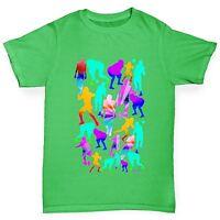 Twisted Envy Boy's American Football Rainbow Silhouettes Cotton T-Shirt