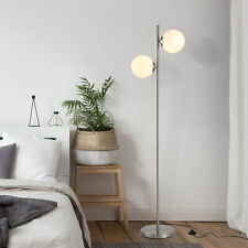 HOMCOM 2 Glass Shade Floor Lamp Metal Pole Modern Decorative Floor Switch Silver