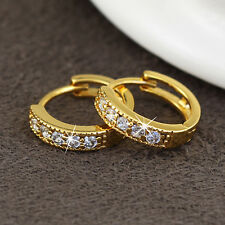 18k Gold Plated  Jewellery Cubic Zirconia Round Big Ear Stud Hoop Earrings