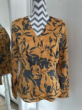 VERA MODA ORANGE PEPLUM LEAF PRINT BLOUSE - Size M