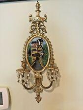 Wall Sconce Brass w/ Oil Painting Eltz Castle Germany & Swarovski Crystals