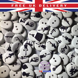15mm Musical Instruments Patterns Wooden Round Buttons DIY Crafts 2 Holes Sewing