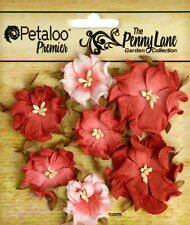 Mini Wild Rose ANTIQUE RED 7 Paper Flowers 3-4cm across Penny Lane Petaloo