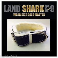 Large Black Leather Dog Collar with Light Caramel Fur Padded Inner Lining