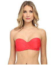 ** NWT $67  BODY GLOVE LARGE RED MARILYN BANDEAU PUSH UP BRA BIKINI TOP ONLY  *