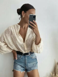Zara Beige Blouse Top With Cutwork Embroidery.  Size L