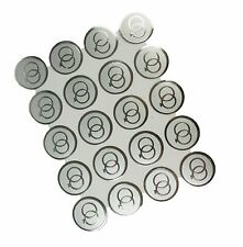 "100 Silver Double RINGS Print Wedding Round Envelope Seal Stickers 1"" Diameter"