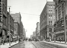 """KANSAS CITY, Missouri, Antique Street View, Walnut St., 24""""x18"""" 1906 photo"""