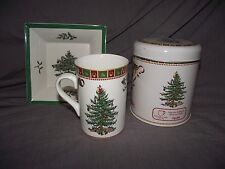 Spode Christmas Tree Sentiment Mug with Tin and Square Tray/Nut/Candy Dish