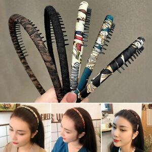 Women Girl Hair Hoop With Teeth Comb Hairband Chiffon Non-Slip Floral Headband
