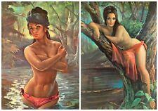 Nymph & Woodland Goddess by JH Lynch Tretchikoff Era - Vintage Art Print Size A3