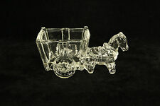 VINTAGE CRYSTAL CLEAR GLASS HORSE PULING CART FIGURAL TOOTHPICK HOLDER OR CANDY