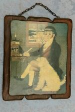 Vintage Wooden Wall Hanging-Picture-Small Boy Writing With Poodle-Unique & Old!